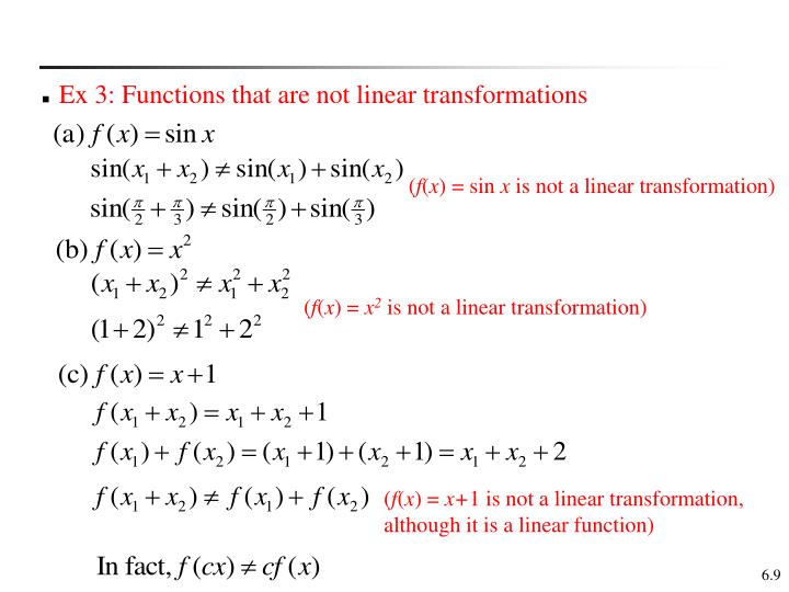 Ex 3: Functions that are not linear transformations