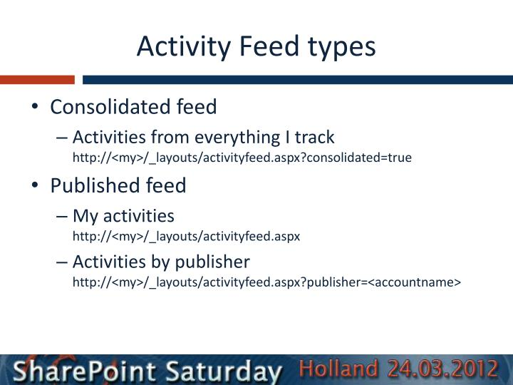 Activity Feed types