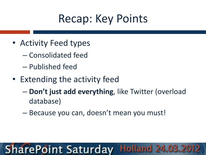 Recap: Key Points