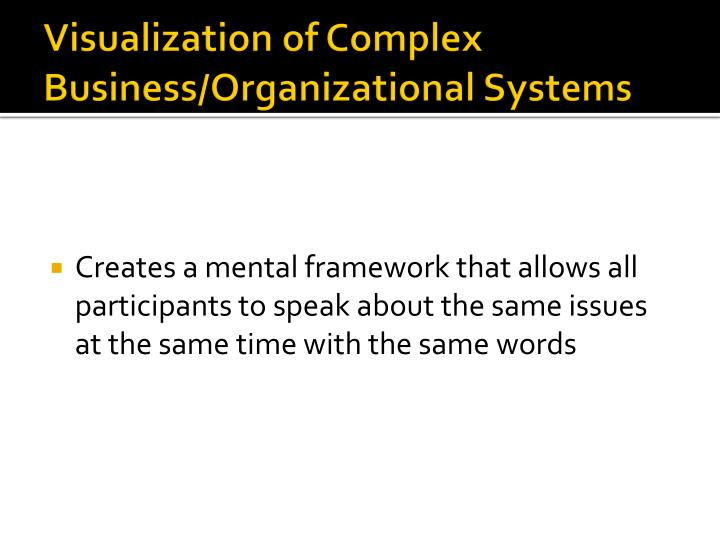 Visualization of Complex Business/Organizational Systems
