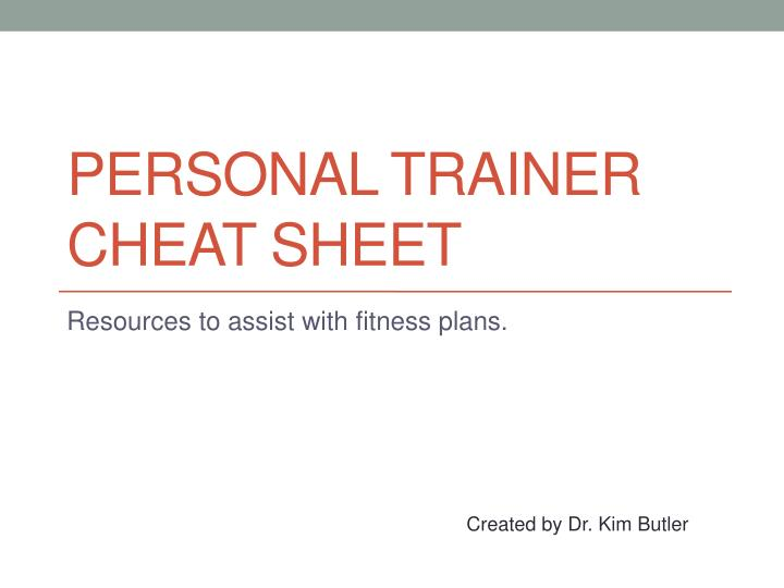 personal trainer cheat sheet