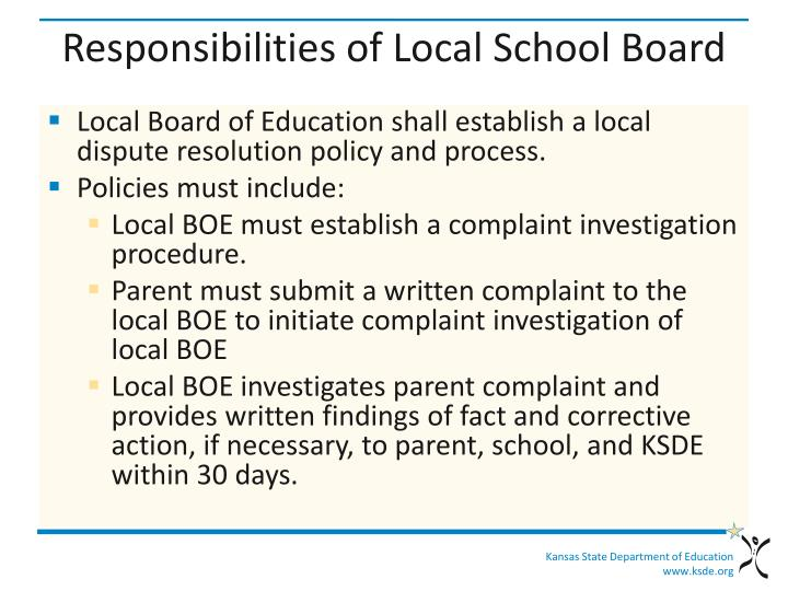 Responsibilities of Local School