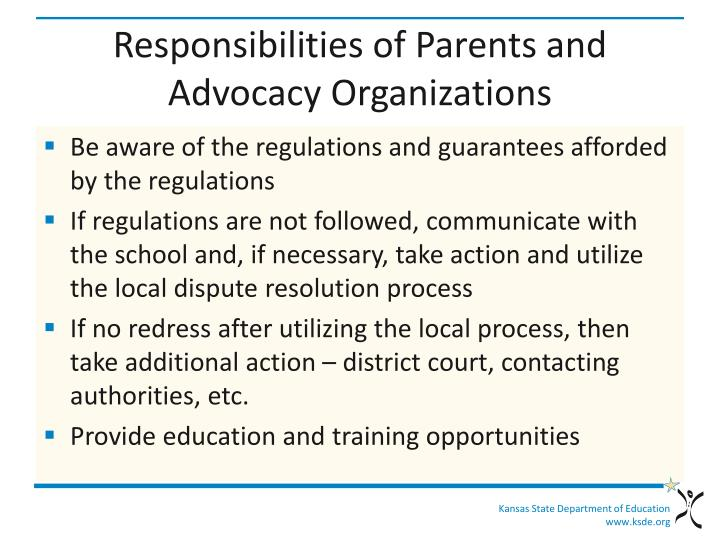 Responsibilities of Parents and Advocacy