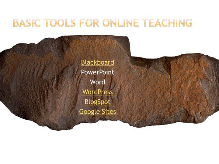 Basic Tools for Online Teaching