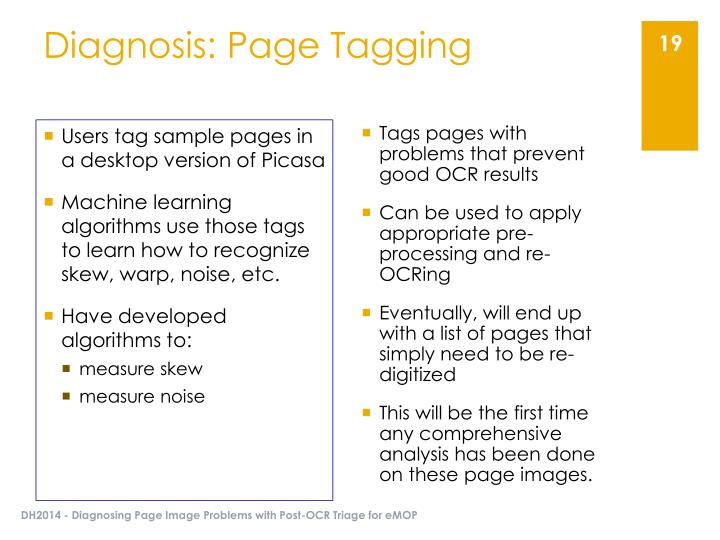 Diagnosis: Page Tagging