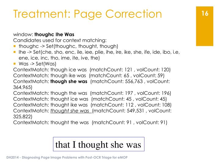 Treatment: Page Correction