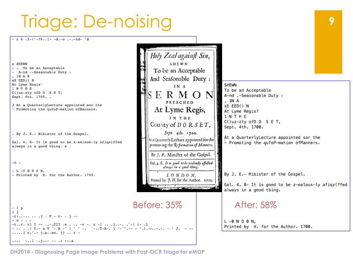 Triage: De-noising