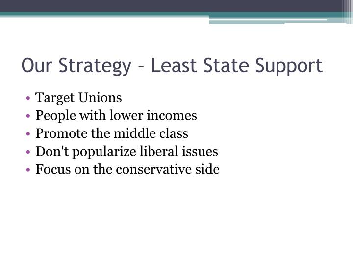 Our Strategy – Least State Support