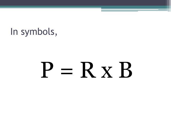 In symbols,