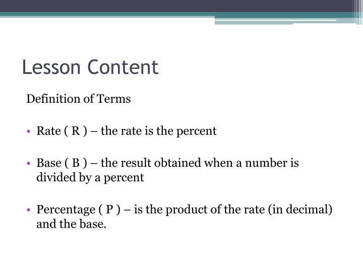 Lesson Content