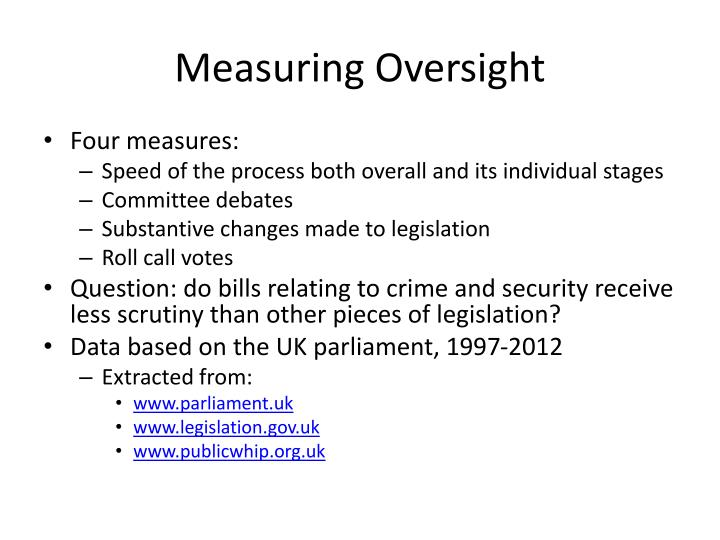 Measuring Oversight