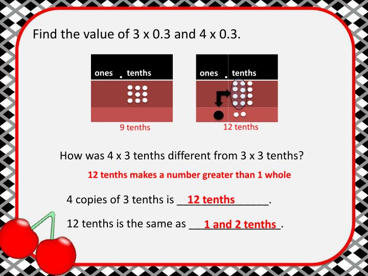 Find the value of 3 x 0.3 and 4 x 0.3.