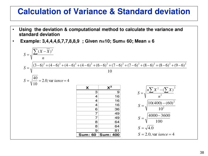 Using  the deviation & computational method to calculate the variance and standard deviation