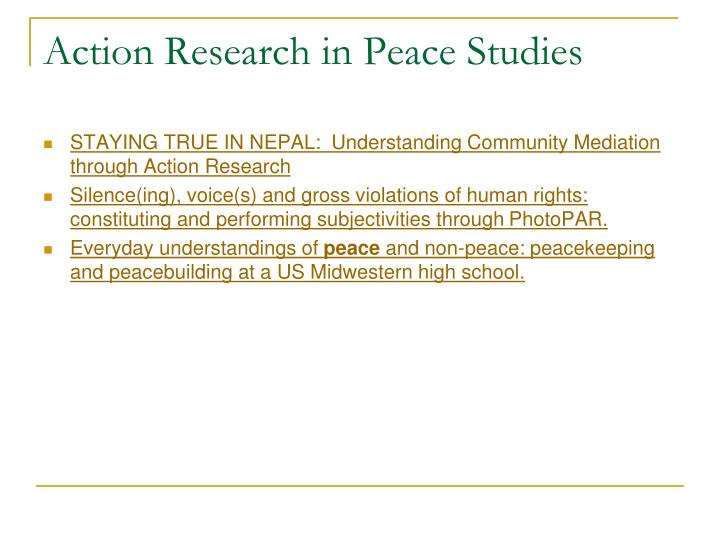 Action Research in Peace Studies