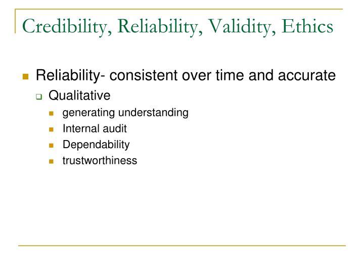 Credibility, Reliability, Validity, Ethics