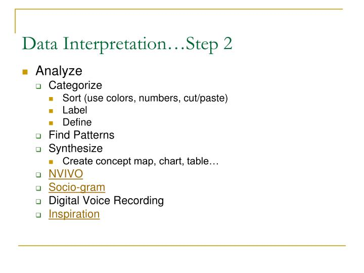 Data Interpretation…Step 2