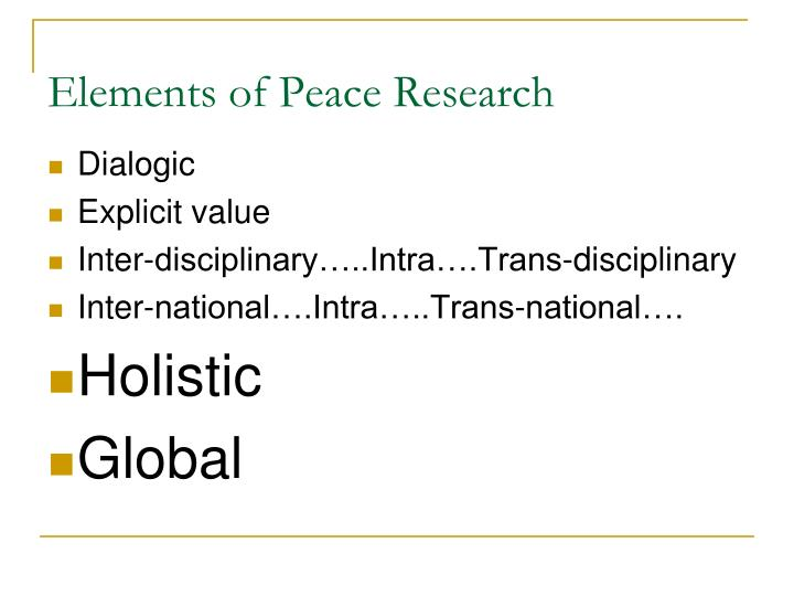 Elements of Peace Research