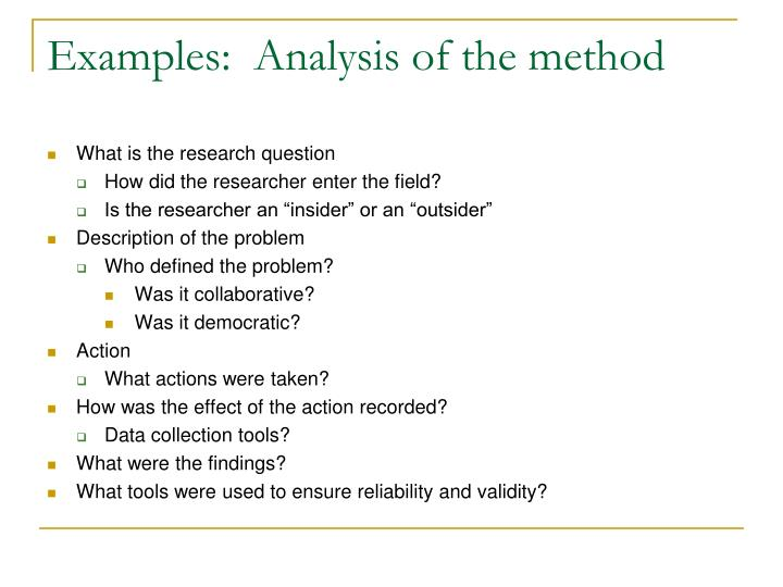 Examples:  Analysis of the method