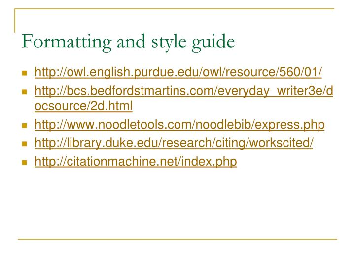 Formatting and style guide