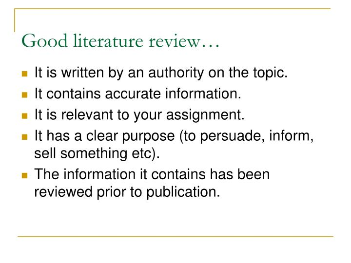 Good literature review…