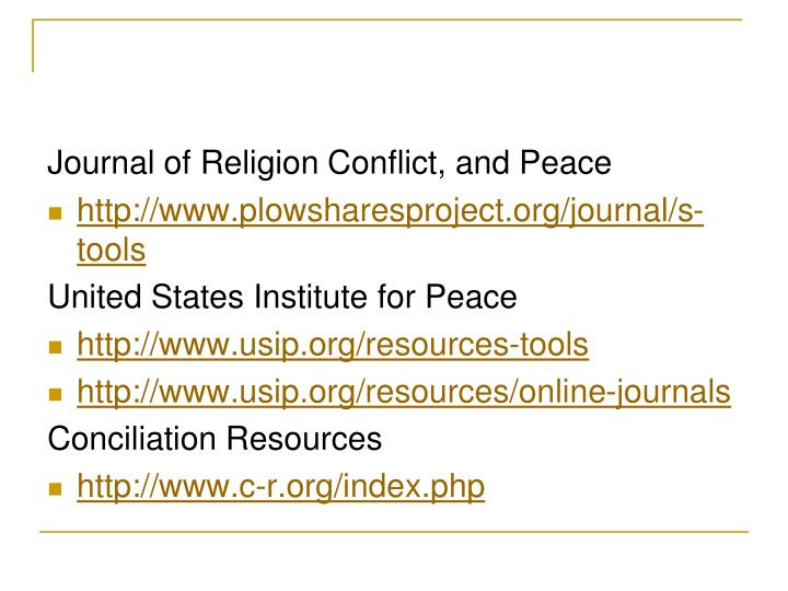 Journal of Religion Conflict, and Peace