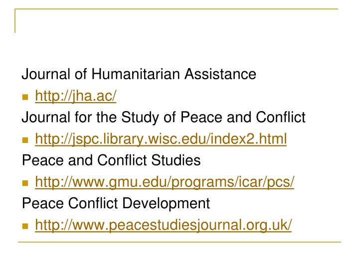 Journal of Humanitarian Assistance