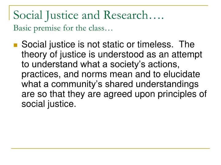 Social Justice and Research….