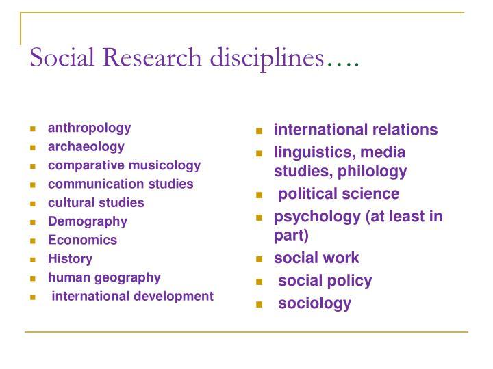 Social Research disciplines