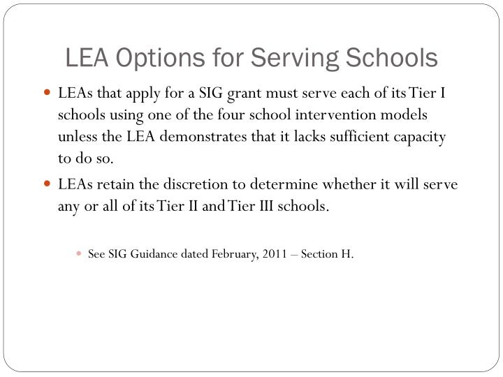 LEA Options for Serving Schools