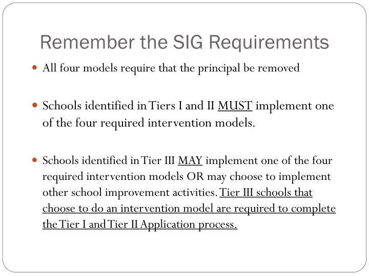Remember the SIG Requirements