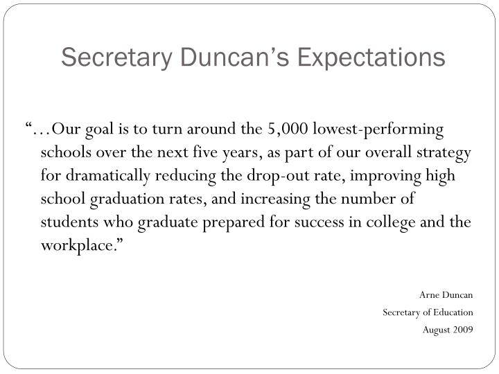 Secretary Duncan's Expectations