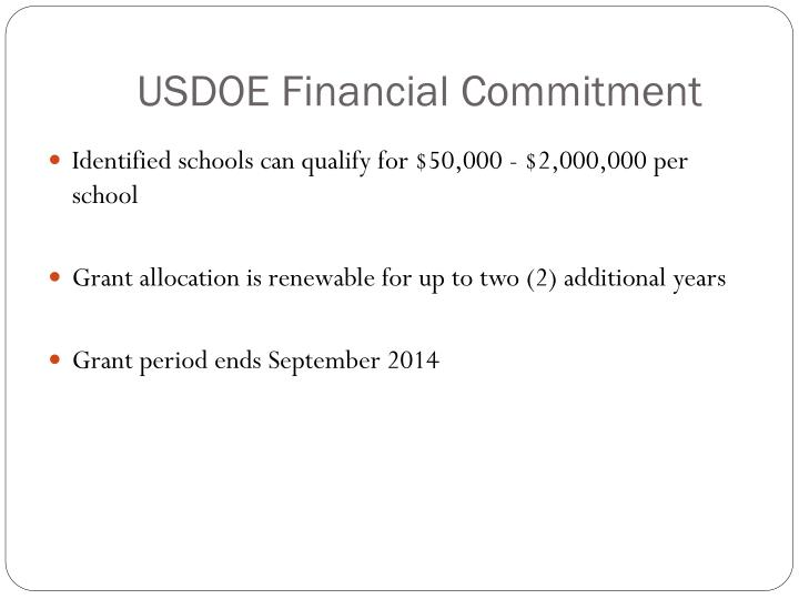 USDOE Financial Commitment