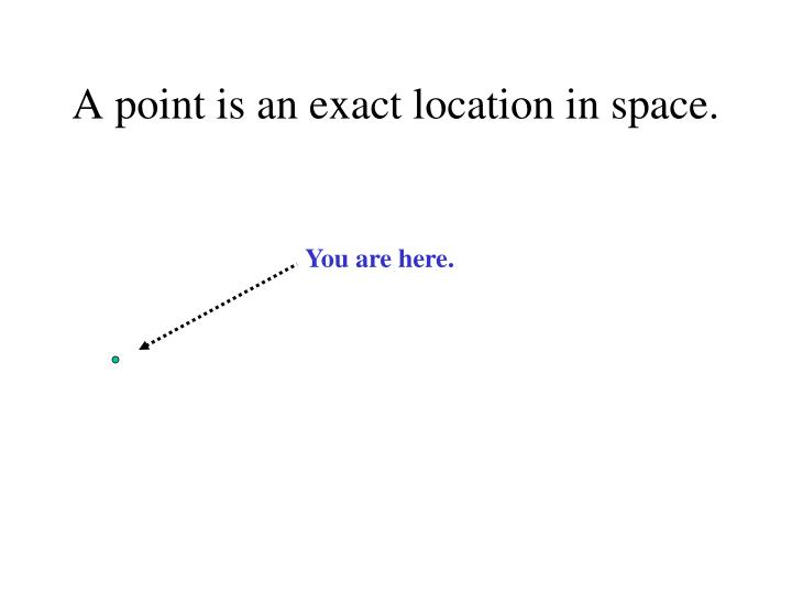 A point is an exact location in space