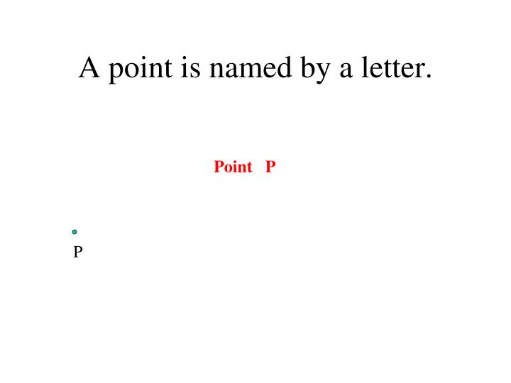 A point is named by a letter.