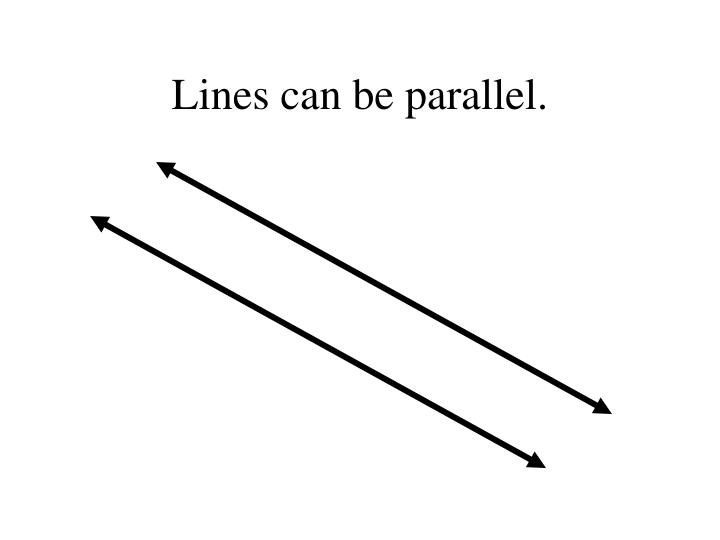 Lines can be parallel.