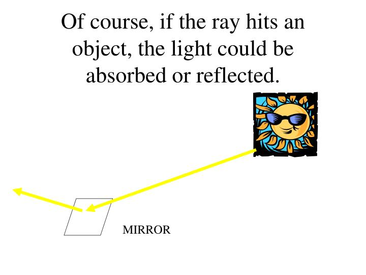 Of course, if the ray hits an object, the light could be absorbed or reflected.