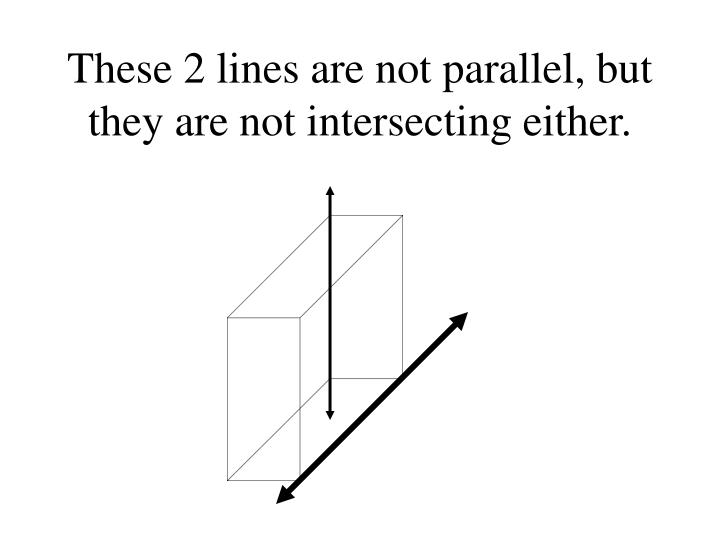 These 2 lines are not parallel, but they are not intersecting either.