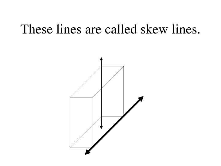 These lines are called skew lines.