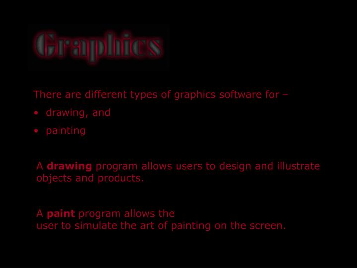 There are different types of graphics software for –