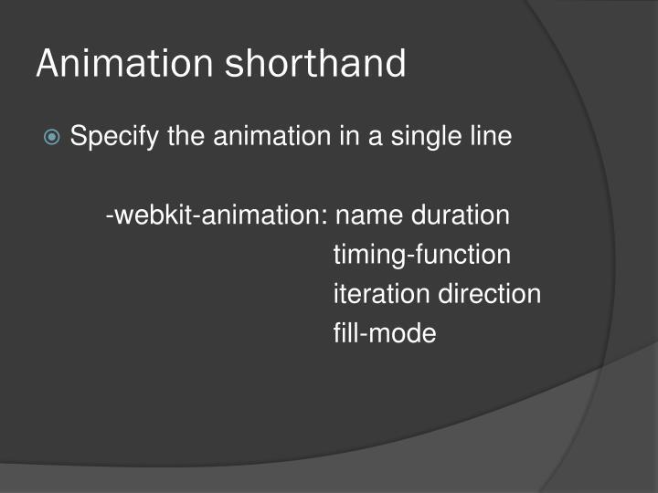 Animation shorthand