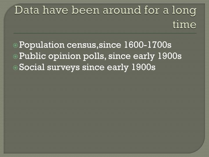 Data have been around for a long time