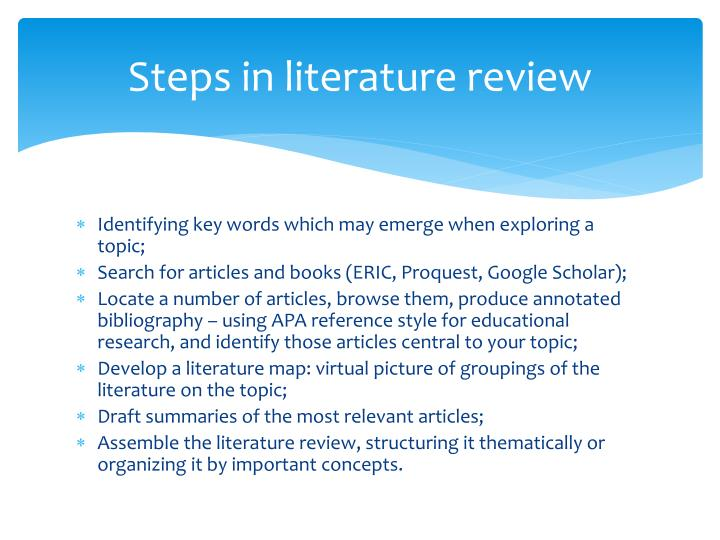 Steps in literature review