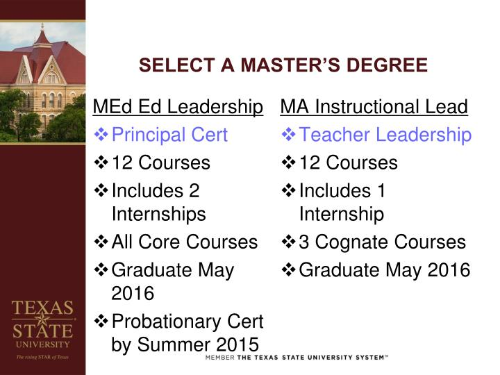 SELECT A MASTER'S DEGREE