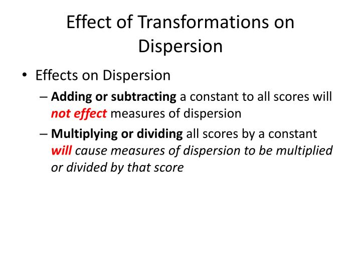 Effect of Transformations on Dispersion