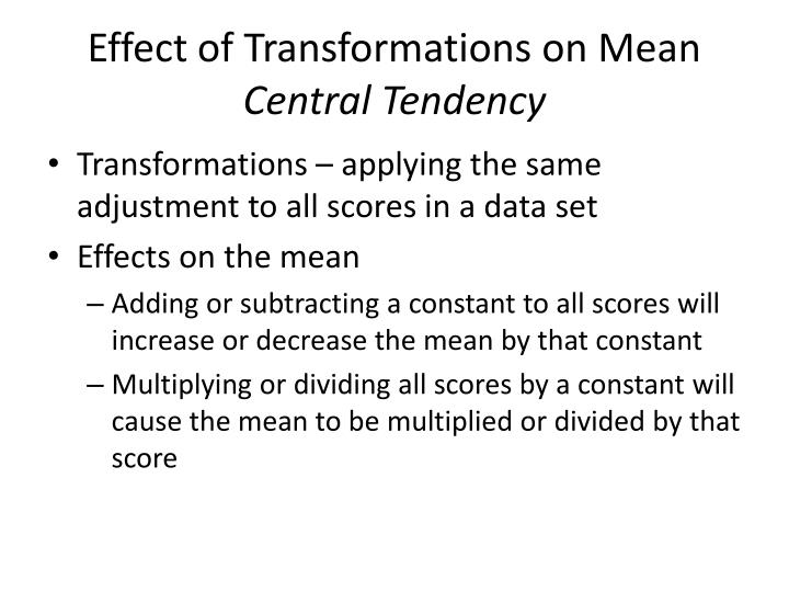Effect of Transformations on Mean