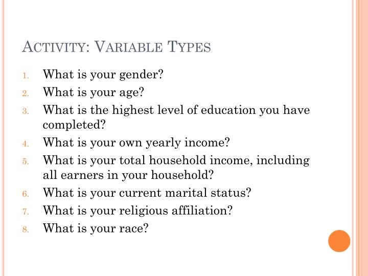 Activity: Variable Types