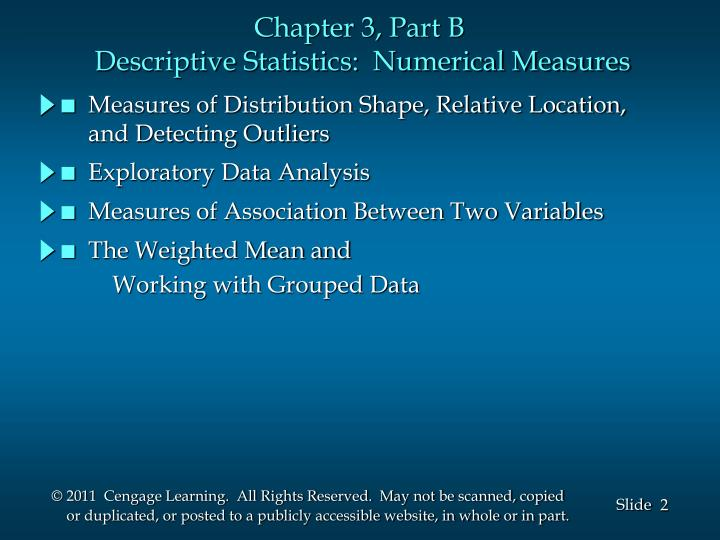 Chapter 3 part b descriptive statistics numerical measures