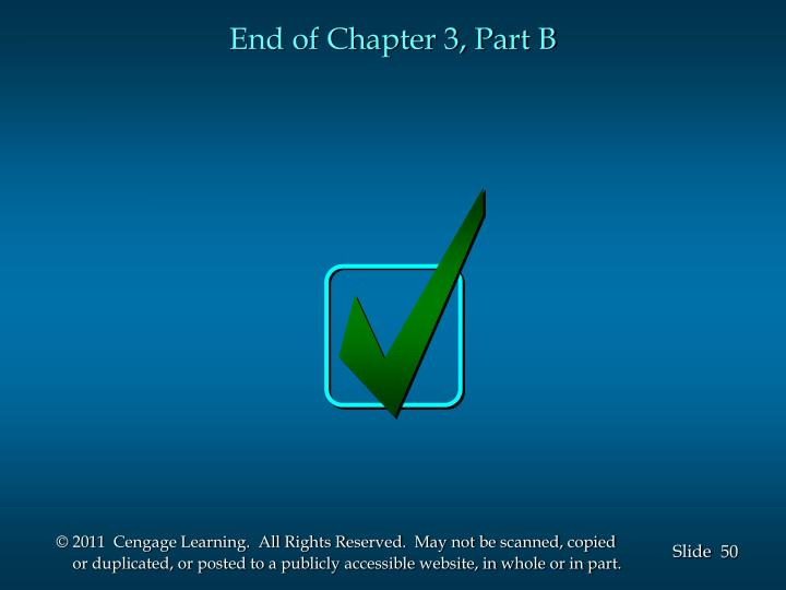 End of Chapter 3, Part B