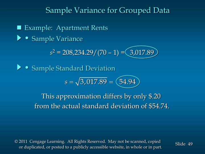 Sample Variance for Grouped Data