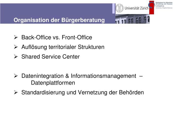 Organisation der Bürgerberatung